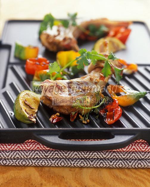 Gastronomie générale / Cuisine générale :  Côtes d'agneau mariné au citron vert et coriandre