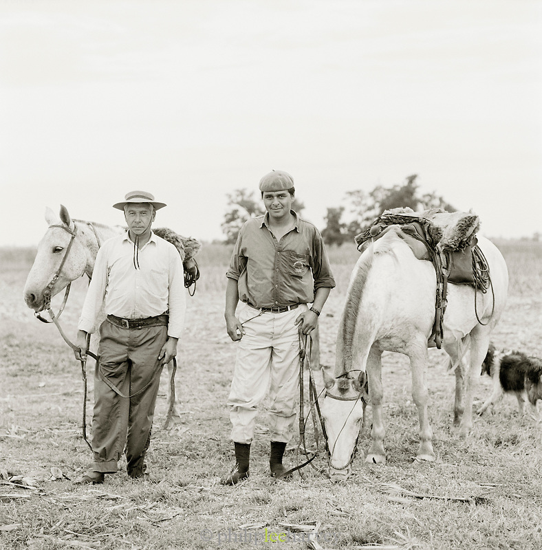 Gauchos with their horses, Pampas District, Argentinca