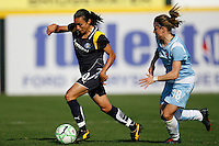 Marta Vieira da Silva (10) of the Los Angeles Sol is chased by Julianne Sitch (38) of Sky Blue FC. The Los Angeles Sol defeated Sky Blue FC 2-0 during a Women's Professional Soccer match at TD Bank Ballpark in Bridgewater, NJ, on April 5, 2009. Photo by Howard C. Smith/isiphotos.com