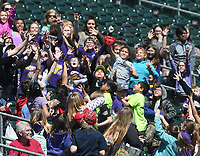 NWA Democrat-Gazette/J.T. WAMPLER Children scramble for a foul ball while watching the Northwest Arkansas Naturals play San Antonio Tuesday April 10, 2018 at Arvest Ballpark in Springdale. Tuesday was Education Day at the ballpark with several hundred school children bussed in for the game. The Naturals are back at home against the Drillers on Thursday April 19.