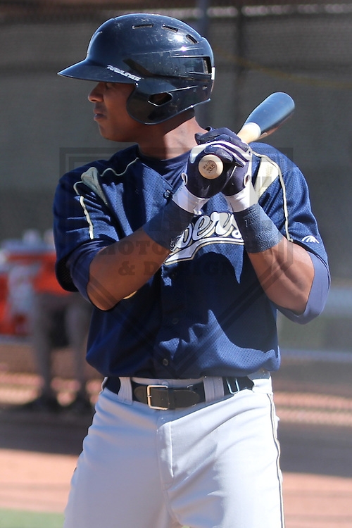 MARYVALE - March 2013: Jose Sermo of the Milwaukee Brewers during a Spring Training practice on March 11, 2013 at Maryvale Baseball Park in Maryvale, Arizona. (Photo by Brad Krause). ...