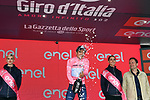 Race leader Richard Carapaz (ECU) Movistar Team extends his lead and retains the Maglia Rosa at the end of Stage 17 of the 2019 Giro d'Italia, running 181km from Commezzadura (Val di Sole) to Anterselva / Antholz, Italy. 29th May 2019<br /> Picture: Massimo Paolone/LaPresse | Cyclefile<br /> <br /> All photos usage must carry mandatory copyright credit (© Cyclefile | Massimo Paolone/LaPresse)