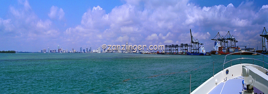 Miami FL, Skyline Cityscape, Gantry Cranes, Port of Miami, Panorama