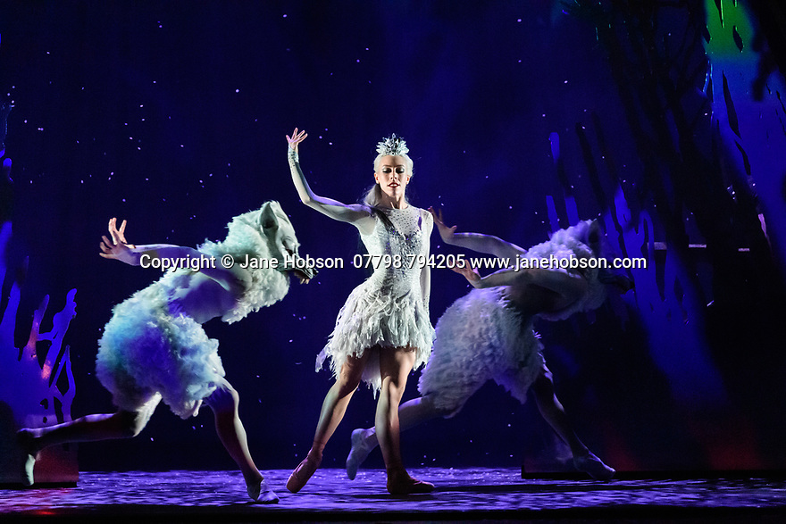 Edinburgh, UK. 06.12.2019. Scottish Ballet presents the world premiere of The Snow Queen, at the Festival Theatre. The work is choreographed by Christopher Hampson, to the music of Rimsky-Korsakov, with set and costume design by Lez Brotherston, and lighting design by Paul Pyant.  The cast is: Constance Devernay (Snow Queen), Bethany Kingsley-Garner (Gerda), Andrew Peasgood (Kai), Kayla-Maree Tarantolo (Lexi). The picture shows: Constance Devernay (Snow Queen). Photograph © Jane Hobson.