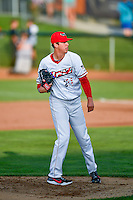 Pioneer League All-Star Nate Bertness (21) of the Orem Owlz delivers a pitch to the plate against the Northwest League All-Stars at the 2nd Annual Northwest League-Pioneer League All-Star Game at Lindquist Field on August 2, 2016 in Ogden, Utah. The Northwest League defeated the Pioneer League 11-5. (Stephen Smith/Four Seam Images)