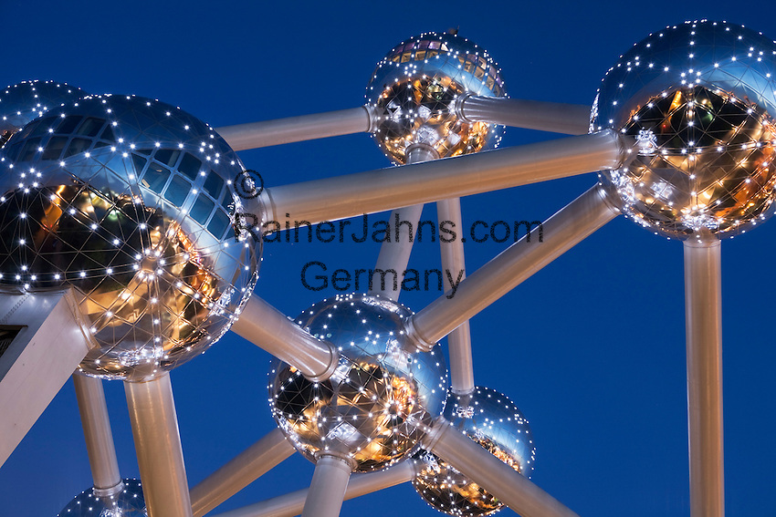 Belgium, Province Brabant, Brussels: The Atomium in Heysel lit up at night