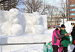 February 3, 2019, Sapporo, Japan - Visitors take selfies with a snow sculpture of Pokemon characters displayed at the 70th annual Sapporo Snow Festival in Sapporo in Japan's nortern island of Hokkaido on Sunday, February 3, 2019. The week-long snow festival will open on February 4 through February 11 and over 2.5 million people are expecting to visit the festival.   (Photo by Yoshio Tsunoda/AFLO) LWX -ytd-
