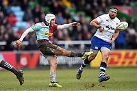 Demetri Catrakilis of Harlequins puts boot to ball. Aviva Premiership match, between Harlequins and Bath Rugby on March 2, 2018 at the Twickenham Stoop in London, England. Photo by: Patrick Khachfe / Onside Images