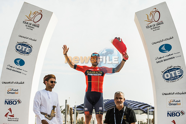 Sonny Colbrelli (ITA) Bahrain-Merida wins Stage 4 of 10th Tour of Oman 2019, running 131km from Yiti (Al Sifah) to Oman Convention and Exhibition Centre, Oman. 19th February 2019.<br /> Picture: ASO/Kåre Dehlie Thorstad | Cyclefile<br /> All photos usage must carry mandatory copyright credit (© Cyclefile | ASO/Kåre Dehlie Thorstad)
