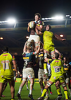 Charlie Matthews of Harlequins wins the ball at a lineout. Aviva Premiership match, between Harlequins and Leicester Tigers on February 24, 2017 at the Twickenham Stoop in London, England. Photo by: Patrick Khachfe / JMP