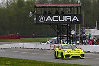 #7 Park Place Motorsports Porsche Cayman GT4 MR, GS: Alan Brynjolfsson, Trent Hindman, Checkered Flag