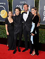 Timothee Chalamet &amp; guest, Armie Hammer &amp; Elizabeth Chambers at the 75th Annual Golden Globe Awards at the Beverly Hilton Hotel, Beverly Hills, USA 07 Jan. 2018<br /> Picture: Paul Smith/Featureflash/SilverHub 0208 004 5359 sales@silverhubmedia.com