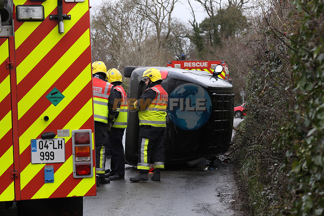 Two units of the Drogheda Fire service attended the scene of a single vehicle RTA at Blackhall cross, The single occupant of the vehicle was uninjured in the sccident which happened after hiting black ice..Photo: Fran Caffrey/www.newsfile.ie...