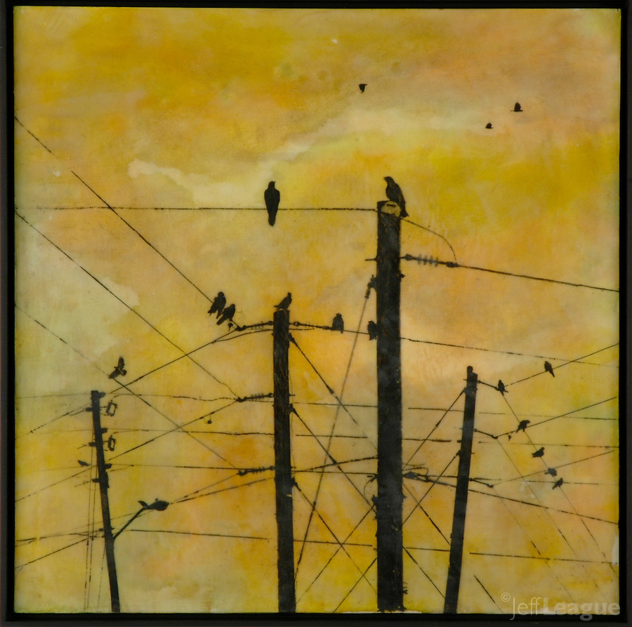 Communication in yellow sky - mixed media encaustic painting/photography by Florida artist Jeff League.