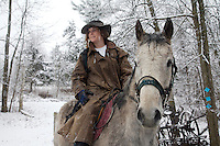 Winter scenes at the Bark Eater Inn, a historic stage coach stop in the 1880s.  Joe Pete Wilson whose father bought the property in19002--the house was built in the late 1700s.  They have always given trail rides on the 250 farm.  A group from the Virgin Islands, Miami and NJ came to ride with Joe's daughter Katie..She has returned home to work at the family inn.