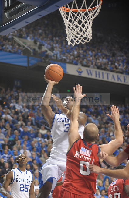 Kentucky Wildcats forward Terrence Jones (3) puts up the ball during the second half of the University of Kentucky Men's basketball game against Radford at Rupp Arena in Lexington, Ky., on 11/23/11. Uk led the game at half 88-40. Photo by Mike Weaver | Staff