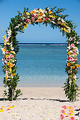 Mauritius. Wedding  flower arch by the sea.