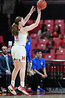 College Park, MD - March 25, 2019: Maryland Terrapins guard Taylor Mikesell (11) hits a three pointer during second round game of NCAAW Tournament between UCLA and Maryland at Xfinity Center in College Park, MD. UCLA advanced to the Sweet 16 defeating Maryland 85-80.(Photo by Phil Peters/Media Images International)