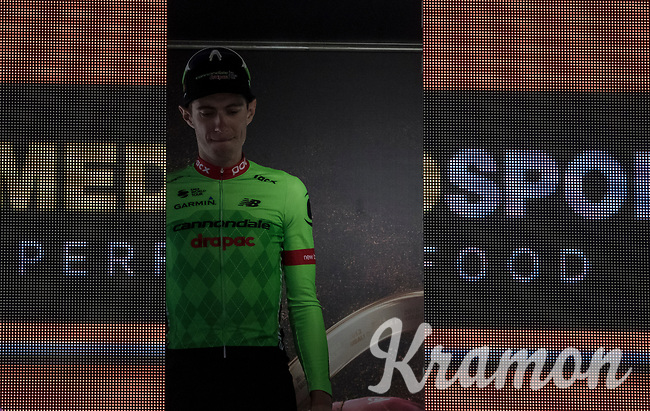 stage winner Pierre Rolland (FRA/Cannondale-Drapac) appearing on the podium<br /> <br /> Stage 17: Tirano &rsaquo; Canaze (219km)<br /> 100th Giro d'Italia 2017
