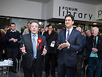 © Joel Goodman - 07973 332324 . 31/01/2014 . Manchester , UK . Leader of the Labour Party , Ed Miliband (r) and Mike Kane (l) after Ed Miliband delivered a speech and Q&A at Wythenshawe Forum this afternoon (31st January 2014) as the party continues to campaign for Mike Kane in the upcoming Wythenshawe and Sale East by-election , following the death of Paul Goggins . Photo credit : Joel Goodman