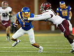 BROOKINGS, SD - OCTOBER 7: Jacob Brown #1 from South Dakota State University tries to shake the grasp of Jefferson Vea #24 from Southern Illinois in the first half of their game Saturday night at Dana J. Dykhouse Stadium in Brookings. (Photo by Dave Eggen/Inertia)