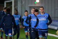 Matt Bloomfield of Wycombe Wanderers leads a warm up jog ahead of the Sky Bet League 2 match between Newport County and Wycombe Wanderers at Rodney Parade, Newport, Wales on 22 November 2016. Photo by Mark  Hawkins.