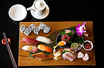 MUMBAI, INDIA - SEPTEMBER 27, 2010: A sushi platter at Wasabi by Morimoto reastaurant at The Taj Mahal Palace and Tower Hotel in Mumbai. The hotel  has re-opened after the terror attacks of 2008 destroyed much of the heritage wing. The wing has been renovated and the hotel is once again the shining jewel of Mumbai. pic Graham Crouch