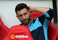 Borja Gonzalez of Swansea City sits in the dug out prior to the Premier League match between Sunderland and Swansea City at the Stadium of Light, Sunderland, England, UK. Saturday 13 May 2017