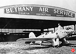 The Bethany Air Service hangar at Bethany Airport, circa 1929. The airport was an important stop for planes flying between Boston and New York.