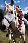 A cowgirl making a heart shape on her Arabian Horse