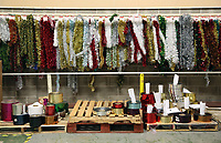 Pictured: Raw materials and tinsel on the factory floor. Thursday 16 November 2017<br /> Re: Festive company which manufactures tinsel in Cwmbran, Wales, UK.