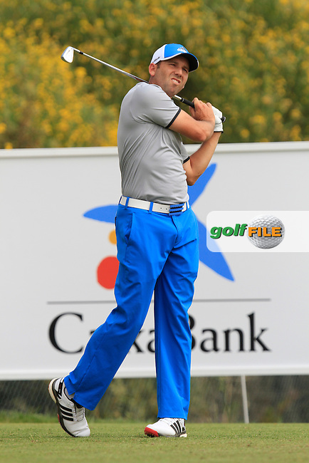 Sergio Garcia (ESP) on the 11th tee during Round 1 of the Open de Espana  in Club de Golf el Prat, Barcelona on Thursday 14th May 2015.<br /> Picture:  Thos Caffrey / www.golffile.ie