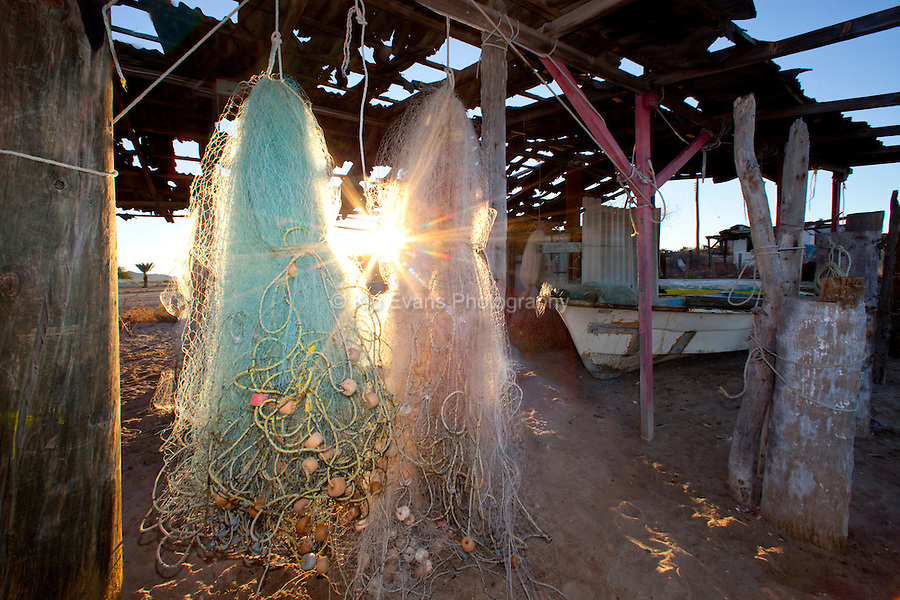 Fishing nets hung out to dry.
