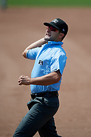 Umpire Thomas Fornarola ejects Lowell Spinners coach Nate Spears (not shown) during a game against the Batavia Muckdogs on July 15, 2018 at Dwyer Stadium in Batavia, New York.  Lowell defeated Batavia 6-2.  (Mike Janes/Four Seam Images)