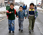 "THIS PHOTO IS AVAILABLE AS A PRINT OR FOR PERSONAL USE. CLICK ON ""ADD TO CART"" TO SEE PRICING OPTIONS.   Students walk home from their preschool for Roma children in the Zemun Polje neighborhood of Belgrade, Serbia. The program, for children 5-9 years old, is part of the Branko Pesic School, supported by Church World Service.  Many of the children are from refugee families that fled from Kosovo. Lacking legal legal status in Serbia, their children are unable to attend regular schools."