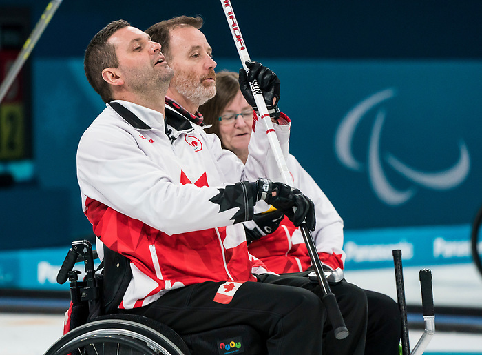 PyeongChang 14/3/2018 - Skip Mark Ideson reacts to his shot as Canada takes on Slovakia in wheelchair curling at the Gangneung Curling Centre during the 2018 Winter Paralympic Games in Pyeongchang, Korea. Photo: Dave Holland/Canadian Paralympic Committee