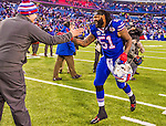 14 December 2014: Buffalo Bills middle linebacker Brandon Spikes shows emotion after a game against the Green Bay Packers at Ralph Wilson Stadium in Orchard Park, NY. The Bills defeated the Packers 21-13, snapping the Packers' 5-game winning streak and keeping the Bills' 2014 playoff hopes alive. Mandatory Credit: Ed Wolfstein Photo *** RAW (NEF) Image File Available ***