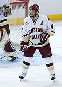 Mike Brennan 4 of Boston College stands guard in front of the Eagles' net. The Eagles of Boston College defeated the Falcons of Bowling Green State University 5-1 on Saturday, October 21, 2006, at Kelley Rink of Conte Forum in Chestnut Hill, Massachusetts.<br />