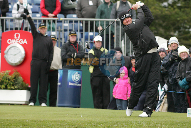 Paul Lawrie Teeing off on the 1st tee box on day 3 of the 3 Irish open in Co Louth Golf Club Baltray..Pic Fran Caffrey/golffile.ie