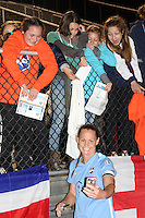 Piscataway, NJ, May 7, 2016. Sky Blue FC defender Christie Rampone (3) takes a selfie with fans after the match.  The Western New York Flash defeated Sky Blue FC, 2-1, in a National Women's Soccer League (NWSL) match at Yurcak Field.
