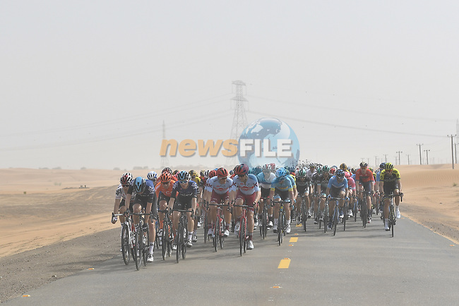 The peloton ride through the desert during Stage 4 of the 2019 UAE Tour, running 197km form The Pointe Palm Jumeirah to Hatta Dam, Dubai, United Arab Emirates. 26th February 2019.<br /> Picture: LaPresse/Fabio Ferrari | Cyclefile<br /> <br /> <br /> All photos usage must carry mandatory copyright credit (© Cyclefile | LaPresse/Fabio Ferrari)