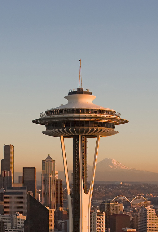 Seattle, Space Needle, Mount Rainier, Aerial, Business District, Washington State, Pacific Northwest, North America, sunset,