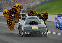 Jun. 18, 2011; Bristol, TN, USA: NHRA funny car driver Brian Thiel during qualifying for the Thunder Valley Nationals at Bristol Dragway. Mandatory Credit: Mark J. Rebilas-