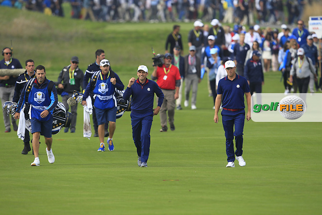 Sergio Garcia and Alex Noren (Team Europe) on the 4th fairway during the Friday Foursomes at the Ryder Cup, Le Golf National, Ile-de-France, France. 28/09/2018.<br /> Picture Thos Caffrey / Golffile.ie<br /> <br /> All photo usage must carry mandatory copyright credit (© Golffile | Thos Caffrey)