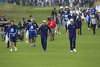 Sergio Garcia and Alex Noren (Team Europe) on the 4th fairway during the Friday Foursomes at the Ryder Cup, Le Golf National, Ile-de-France, France. 28/09/2018.<br /> Picture Thos Caffrey / Golffile.ie<br /> <br /> All photo usage must carry mandatory copyright credit (&copy; Golffile | Thos Caffrey)