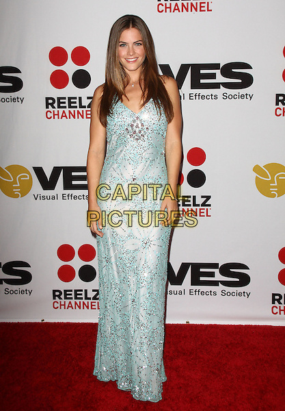 SHANNON DECKER .8th Annual VES Awards Arrivals held At The Haytt Regency Century Hotel, Century City, California, USA..February 28th, 2010.full length blue white maxi dress beads beaded .CAP/ADM/KB.©Kevan Brooks/AdMedia/Capital Pictures.