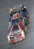 Sept. 17, 2010; Concord, NC, USA; The car of NHRA funny car driver Del Worsham is towed through the pits during qualifying for the O'Reilly Auto Parts NHRA Nationals at zMax Dragway. Mandatory Credit: Mark J. Rebilas/