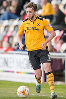 Scott Barrow of Newport County during the Sky Bet League 2 match between Newport County and Notts County at Rodney Parade, Newport, Wales on 30 April 2016. Photo by Mark  Hawkins / PRiME Media Images.
