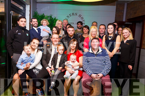 Baby Lewis Moriarty from Lohercannon christening party in Benners Hotel 0n Saturday evening last.  <br /> L-r, Sam Smith, Ciara O&rsquo;Connor (Godmother), Michael Moriarty (Father), James Moriarty, Niamh Coffey Moriarty (Mother) and Mike Shaughnessy (Godfather).