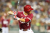 Indiana Hoosiers shortstop Michael Basil (7) at bat against the Oregon State Beavers during Game 9 of the 2013 Men's College World Series  on June 19, 2013 at TD Ameritrade Park in Omaha, Nebraska. The Beavers defeated the Hoosiers 1-0, eliminating Indiana from the tournament. (Andrew Woolley/Four Seam Images)
